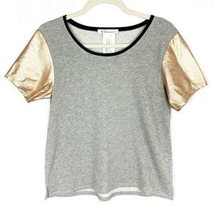BCBGMaxAzria Gray Shirt with Gold Short Sleeves